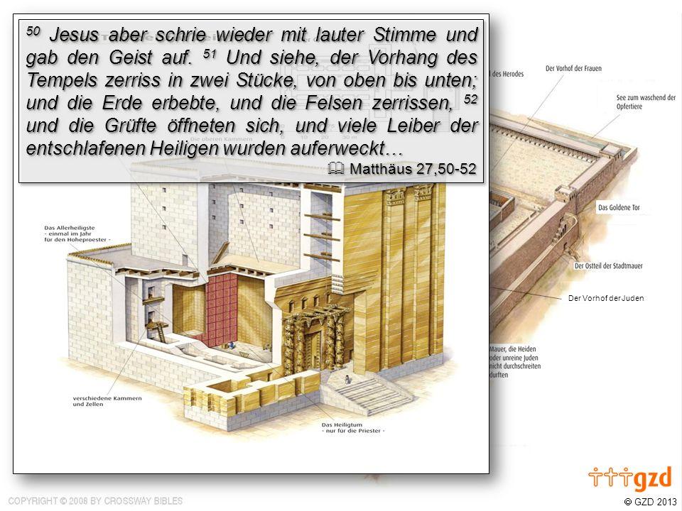 GZD 2013 Der Vorhof der Juden Der Vorhof der Männer Unser Zugang zum Vater ist frei!