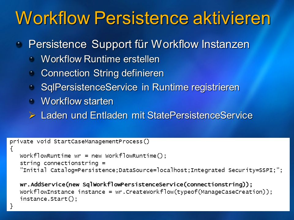 Workflow Persistence
