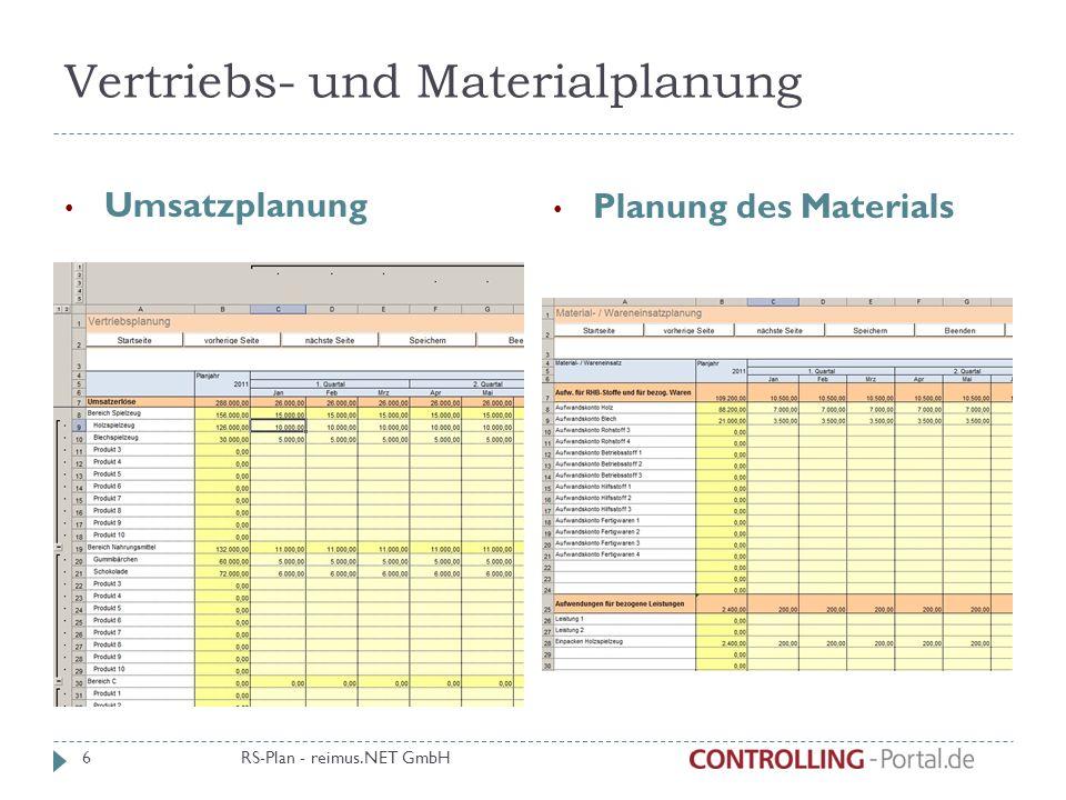 Sonstige GuV- Positionen Abschreibungen Bestandsverän-derungen Sonstige betriebliche Erträge Steuern Zinsen aus Kredite RS-Plan - reimus.NET GmbH 7