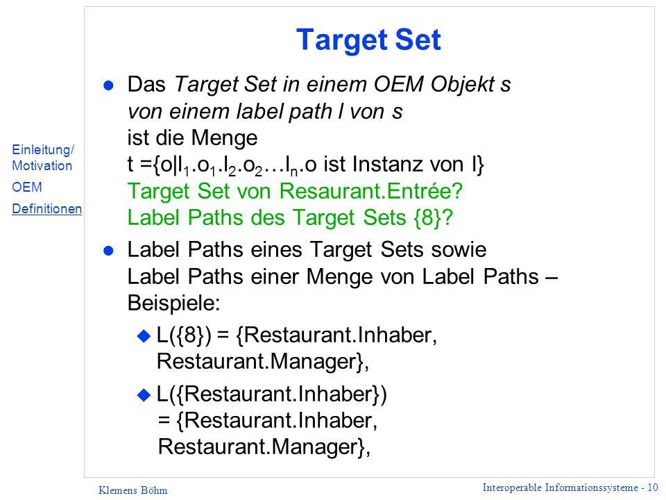 Interoperable Informationssysteme - 11 Klemens Böhm Schema l Sehr vage Definition im folgenden; der Vollständigkeit halber… l Ein Schema ist eine endliche Menge von Namen.