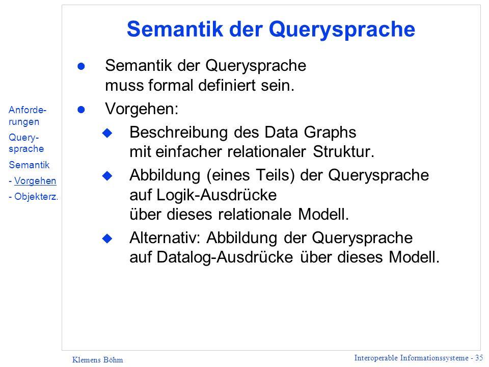 Interoperable Informationssysteme - 36 Klemens Böhm 1.