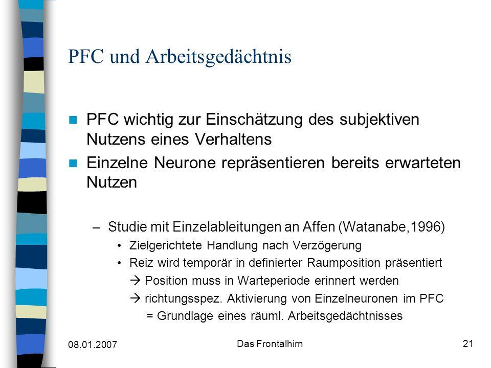 08.01.2007 Das Frontalhirn22 PFC und Arbeitsgedächtnis Aber: Aktivierung ist bei versch.