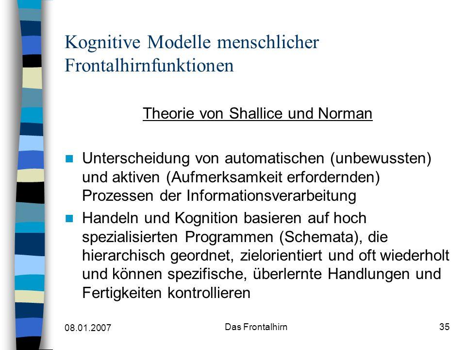 08.01.2007 Das Frontalhirn36 Kognitive Modelle menschlicher Frontalhirnfunktionen Schemata können auf verschiedene Art und Weise ausgelöst werden, z.B.
