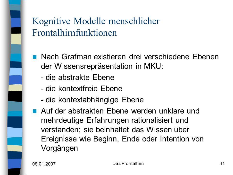 08.01.2007 Das Frontalhirn42 Kognitive Modelle menschlicher Frontalhirnfunktionen Die kontextfreie Ebene enthält Repräsentationen über Ereignisfolgen, die in verschiedenen Kontexten erlebt bzw.