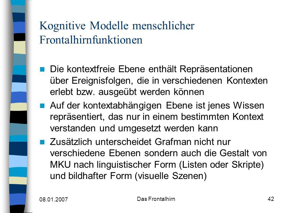 08.01.2007 Das Frontalhirn43 Kognitive Modelle menschlicher Frontalhirnfunktionen Die somatische Markerhypothese Damasio et al.
