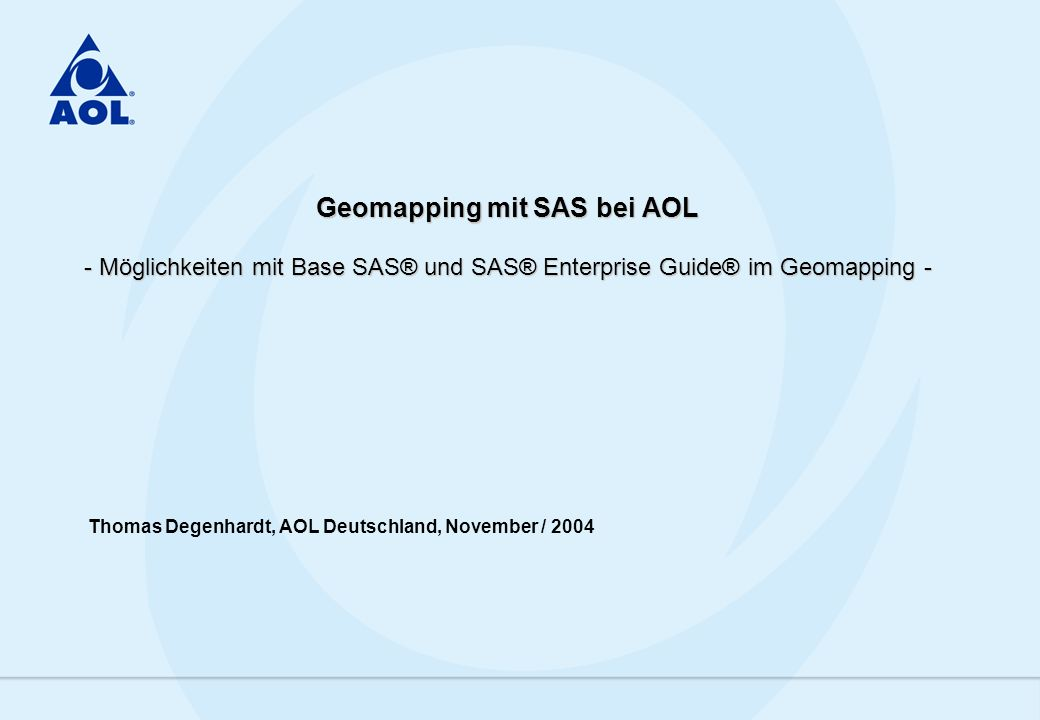 2 AOL Deutschland, November 2004 Agenda 1.Database Marketing bei AOL Deutschland 2.