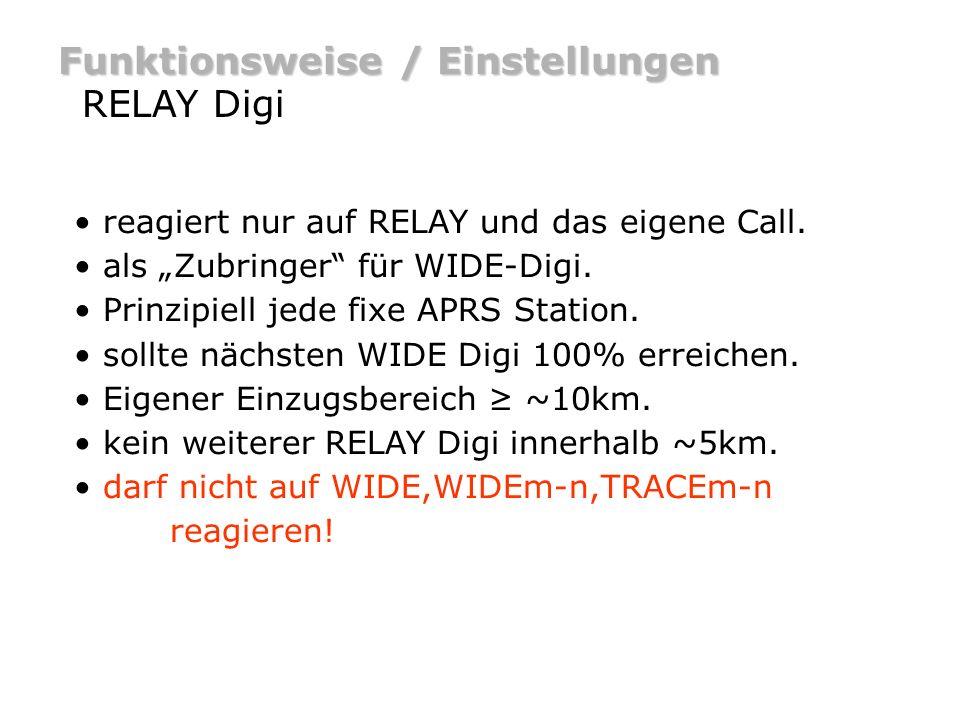 Funktionsweise / Einstellungen RELAY Digi - Beispiel DO9ST-5DH0IAM [RELAY] DO9ST-5>APRS,RELAY DO9ST-5>APRS,DH0IAM* Bei Digipeating wird das generic Call RELAY durch das Call des Digis ersetzt.
