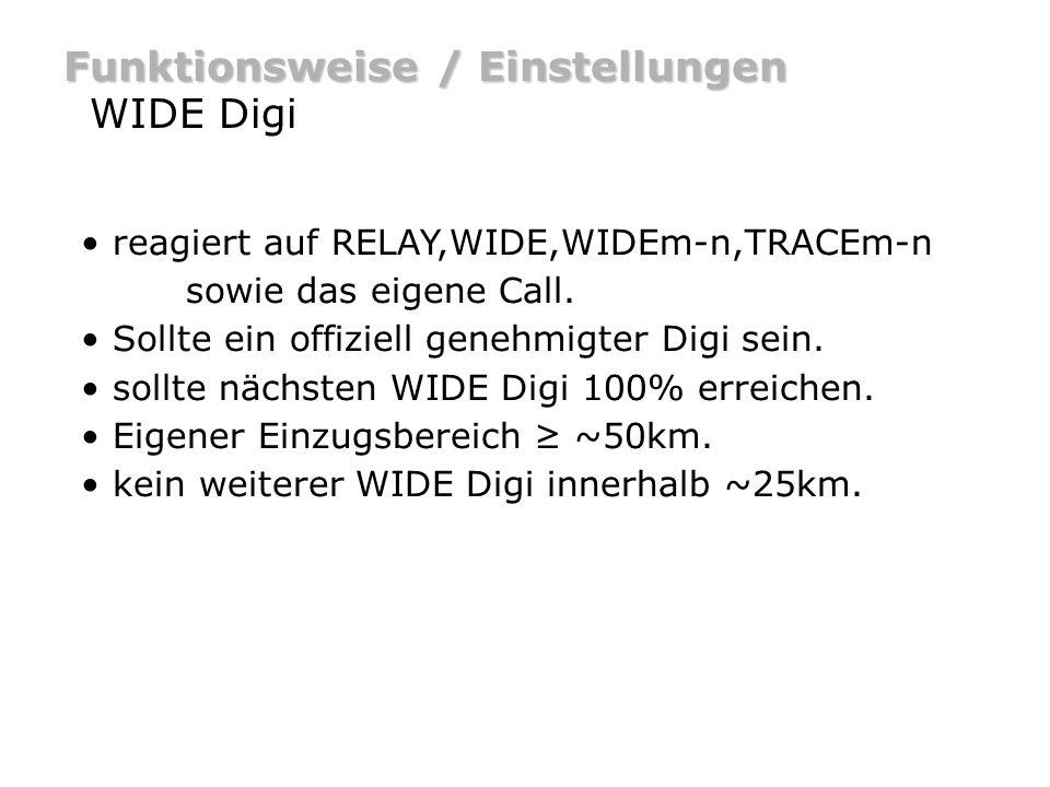 Funktionsweise / Einstellungen WIDE Digi – Beispiel DO9ST-5DB0HOR [WIDE] DO9ST-5>APRS,WIDE DO9ST-5>APRS,DB0HOR* Bei Digipeating wird das generic Call WIDE durch das Call des Digis ersetzt.