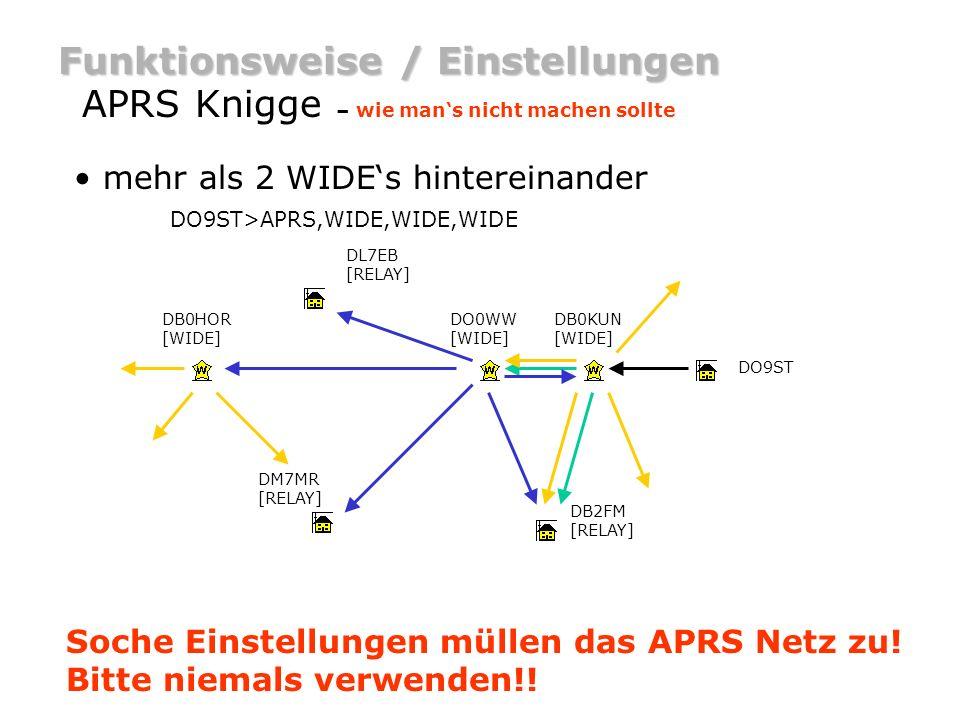 Funktionsweise / Einstellungen APRS Knigge – wie mans nicht machen sollte als Privatstation als WIDE Digi arbeiten: Wenn es schon WIDE-Digis in der näheren Umgebung, ~30km Umkreis, gibt.