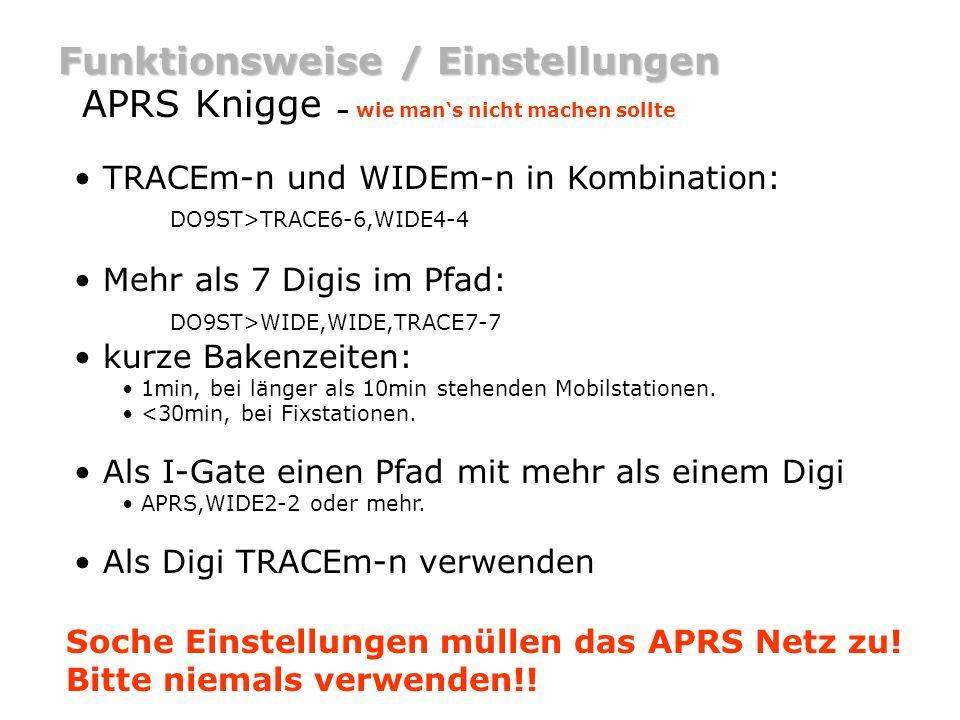 Funktionsweise / Einstellungen APRS Knigge – wie mans nicht machen sollte Weitere Knigge Infos gibts auf : http://www.aprs-bw.de.ms http://www.aprs.de Soche Einstellungen müllen das APRS Netz zu.