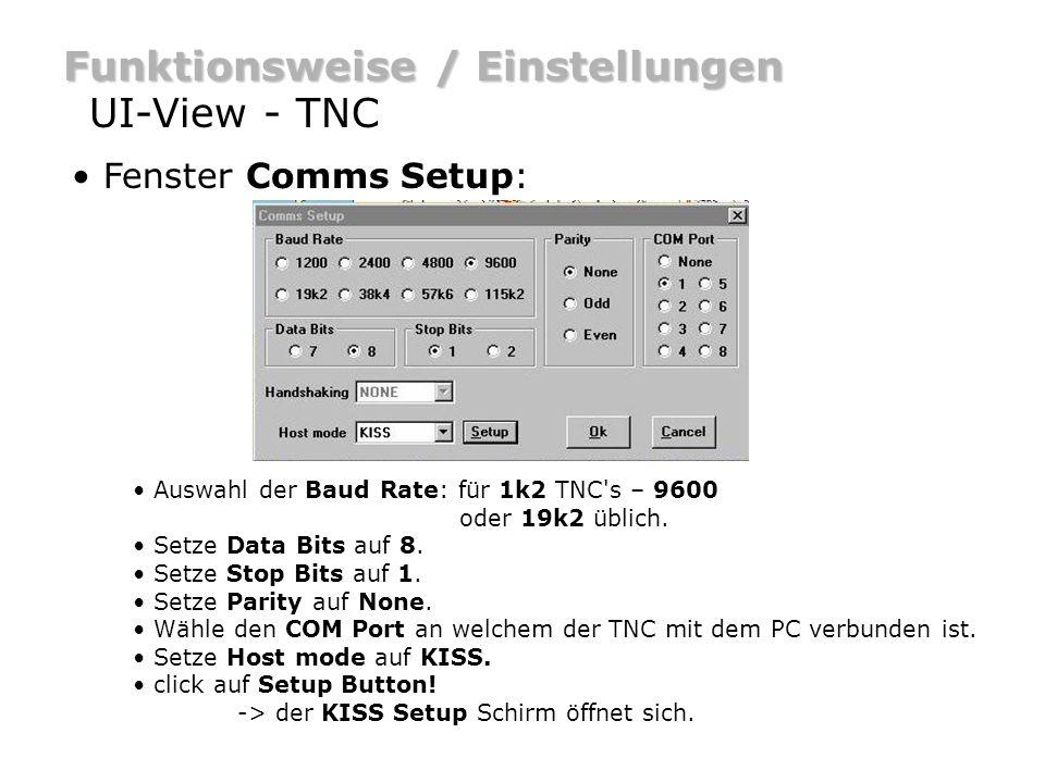 Funktionsweise / Einstellungen UI-View - TNC Fenster KISS Setup: verwende Easy Setup: - TNC2 oder kompatibel click auf TF.