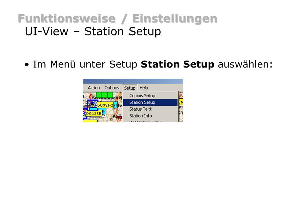 Funktionsweise / Einstellungen UI-View – Station Setup Schreibe dein Rufzeichen in das Callsign Feld.