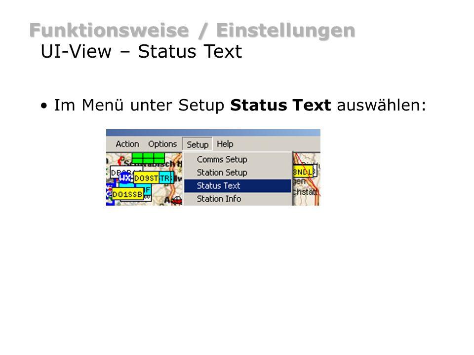 Funktionsweise / Einstellungen UI-View – Status Text setze Interval auf 30 min.