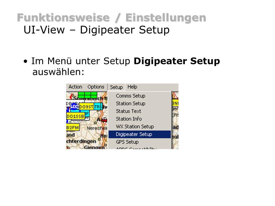Funktionsweise / Einstellungen UI-View – Digipeater Setup Prinzipiell sollte jede fixe APRS Station als RELAY Digi arbeiten.