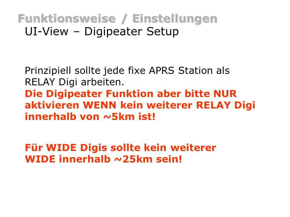 Funktionsweise / Einstellungen UI-View – Digipeater Setup setze die Enable digi checkbox.