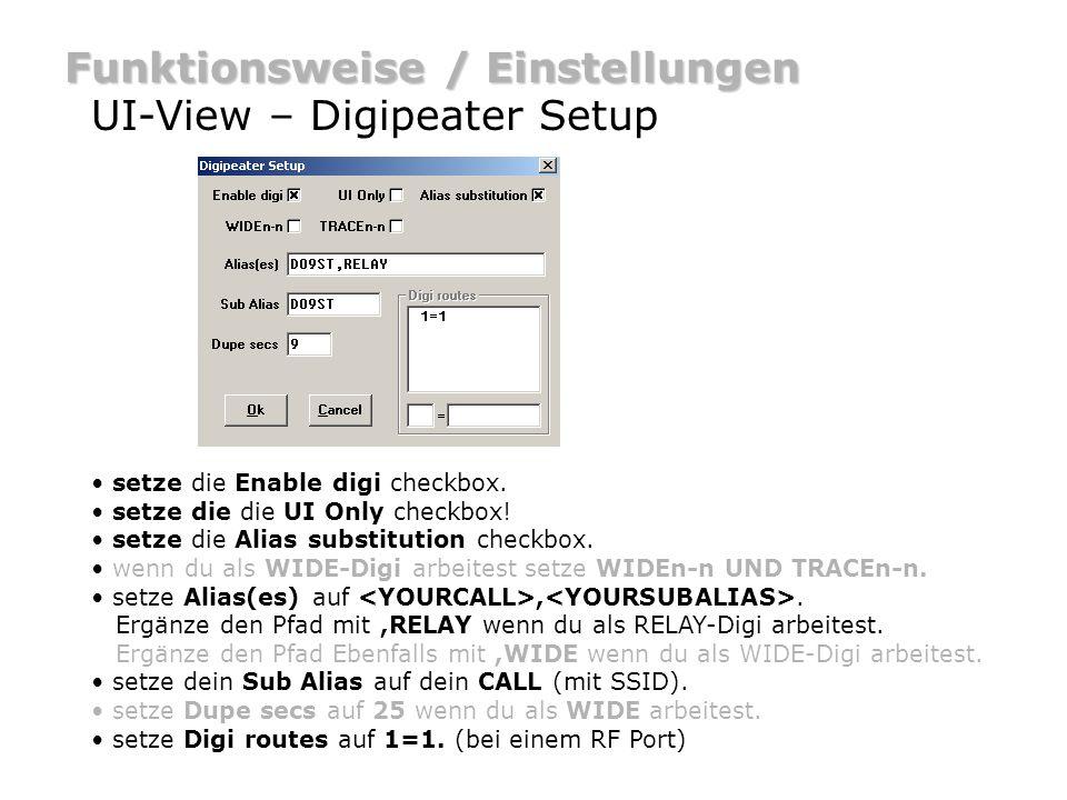 Im Menü unter Setup Miscellaneous auswählen: Funktionsweise / Einstellungen UI-View – Sonstiges