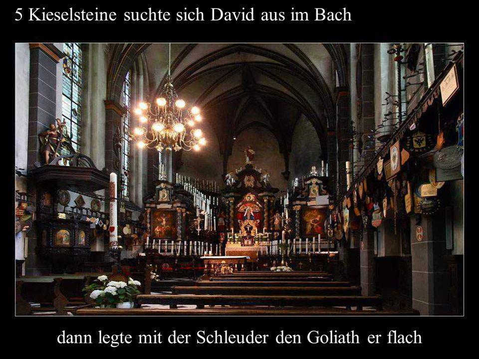 5 Kieselsteine suchte sich David aus im Bach dann legte mit der Schleuder den Goliath er flach