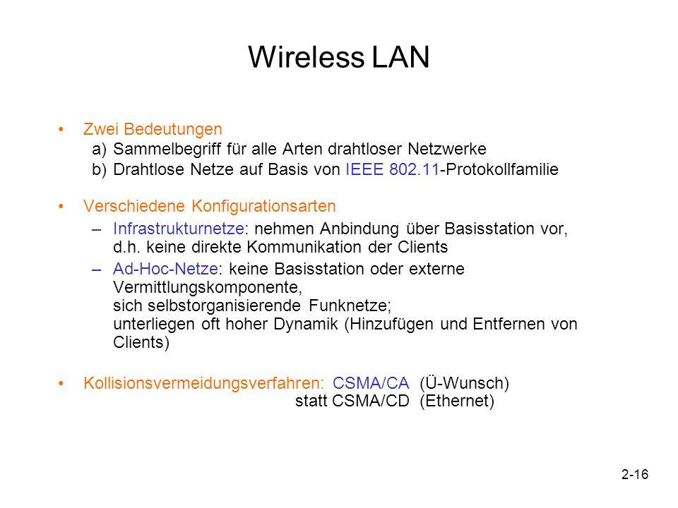 2-17 Wireless LAN IEEE 802.11 –Frequenzbereich: 2,4 GHz oder 5 GHz (in Dtl.