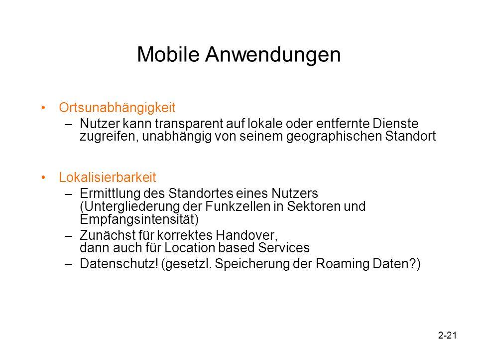 2-22 Mobile Anwendungen Sicherheit und Identifizierbarkeit 1.Abfangen übertragener Daten aus Äther immer möglich.