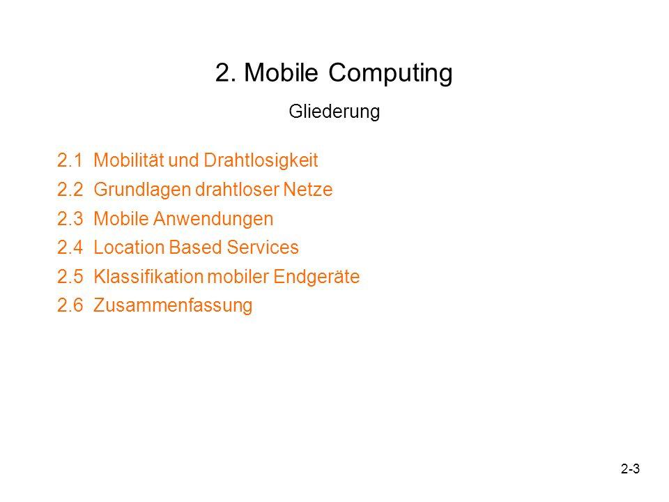 2-4 2.1 Mobilität und Drahtlosigkeit Mobilität –Eigenschaft eines Rechners, eines Anwenders oder eines Dienstes –Flexible Nutzung von entfernten Daten unabhängig von aktuellem Standort Drahtlosigkeit –Anbindung ans Netz durch Funktechnik (i.W.: WLAN, Mobilfunk, Bluetooth, HiperLAN, Infrarot(IrDA)) Daraus ergeben sich vier Szenarien: