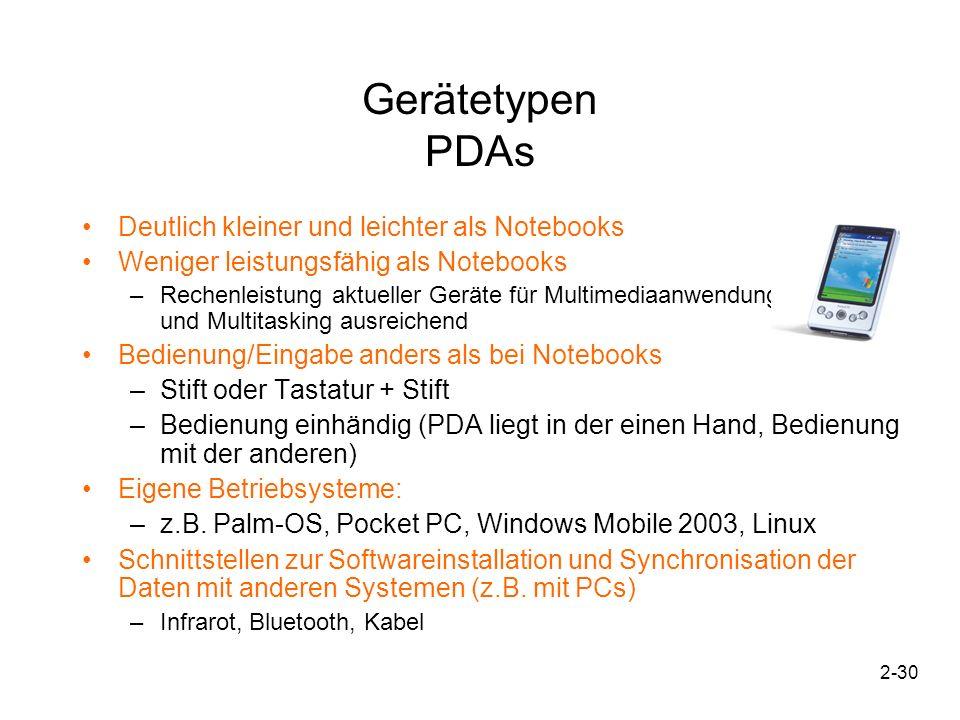 2-31 Gerätetypen PDAs Prozessor und Speicherkapazität (Stand Sommer 2004) –Meist XScale-Prozessoren bis 600MHz –Meist deutlich weniger Speicher als Notebooks (64MB) Speichertyp –Keine Festplatte, stattdessen Speicherkarten und interner Flash-Speicher Display –Heute meist farbig –Größe bis ca.