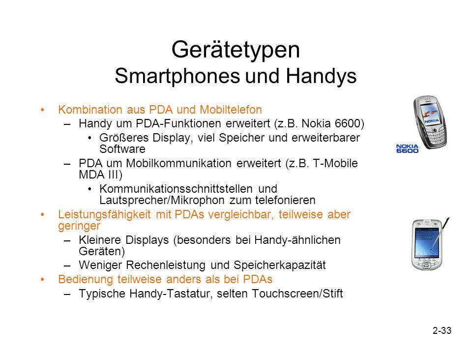 2-34 Gerätetypen Wearables Werden direkt am Körper getragen –Beide Hände frei –Z.B.