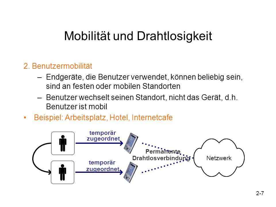 2-8 wechselnder Ort Permanente Drahtlosverbindung Feste/temporäre Zuordnung Netzwerk Dienst Vermittlung eines Dienstes Feste / temporäre Zuordnung Mobilität und Drahtlosigkeit 3.