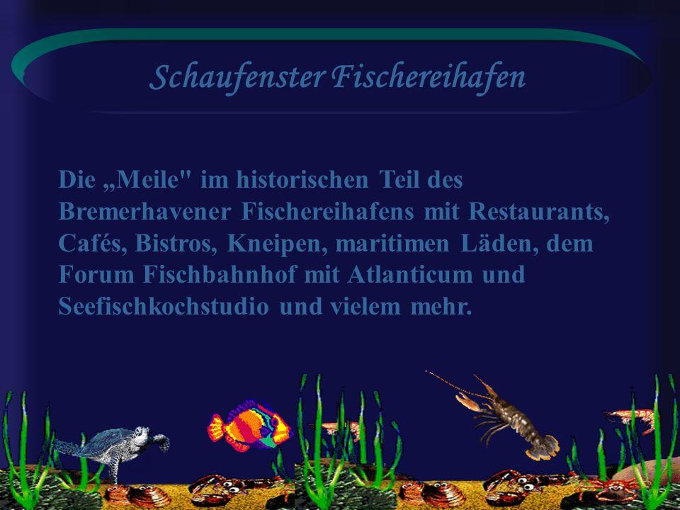 Schaufenster Fischereihafen Die Meile im historischen Teil des Bremerhavener Fischereihafens mit Restaurants, Cafés, Bistros, Kneipen, maritimen Läden, dem Forum Fischbahnhof mit Atlanticum und Seefischkochstudio und vielem mehr.