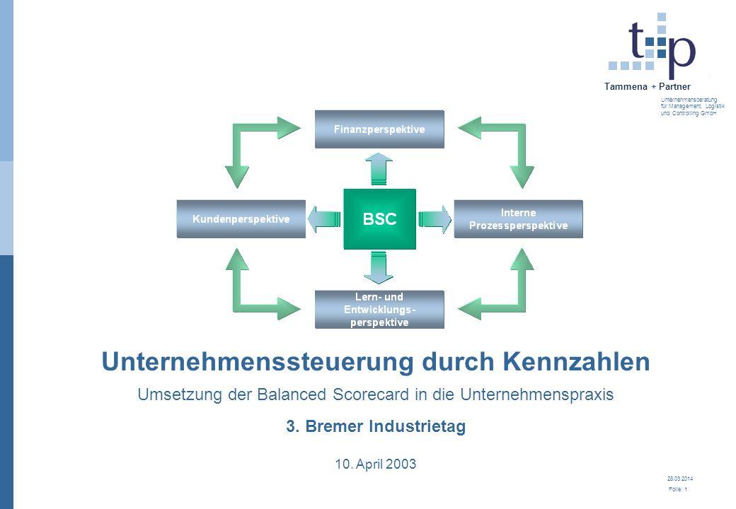28.03.2014 Folie: 2 Tammena + Partner Unternehmensberatung für Management, Logistik und Controlling GmbH 3.