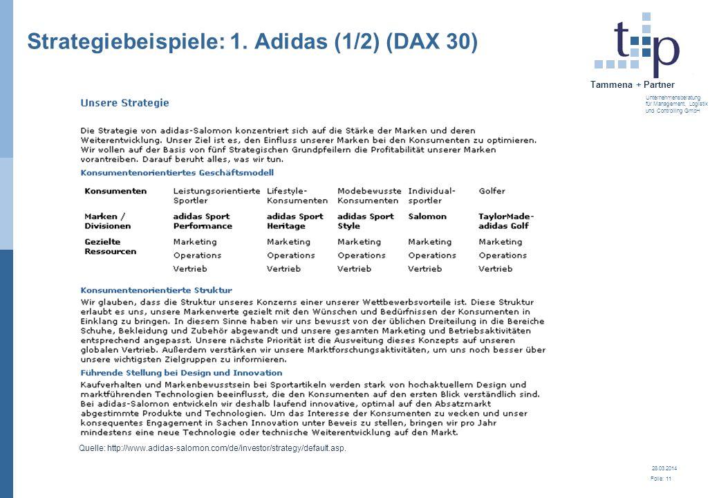 28.03.2014 Folie: 12 Tammena + Partner Unternehmensberatung für Management, Logistik und Controlling GmbH Strategiebeispiele: 1.