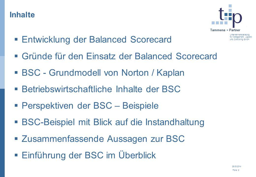28.03.2014 Folie: 3 Tammena + Partner Unternehmensberatung für Management, Logistik und Controlling GmbH 3.
