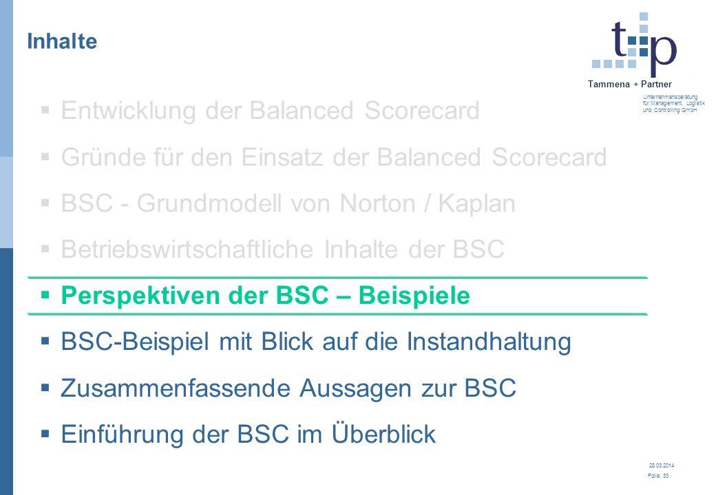 28.03.2014 Folie: 34 Tammena + Partner Unternehmensberatung für Management, Logistik und Controlling GmbH Perspektiven der BSC - Beispiele Kundenperspektive Finanzperspektive Interne Prozessperspektive Lern- und Entwicklungs- perspektive BSC