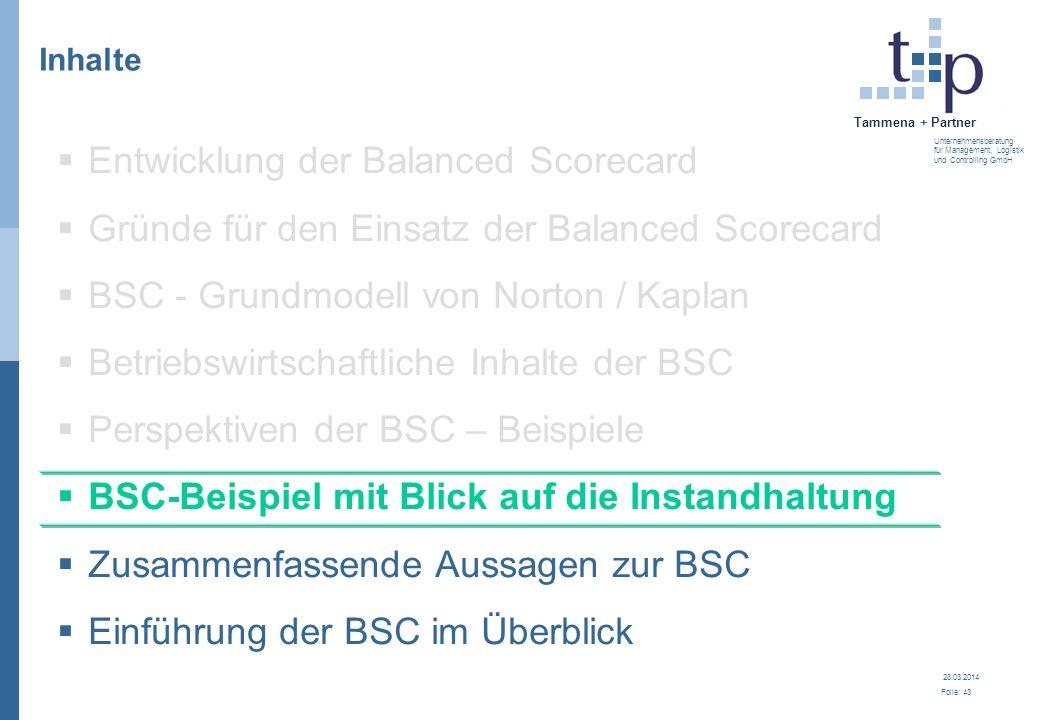 28.03.2014 Folie: 44 Tammena + Partner Unternehmensberatung für Management, Logistik und Controlling GmbH Kennzahlen der Instandhaltung Instandhaltungsintensität Summe der lfd.