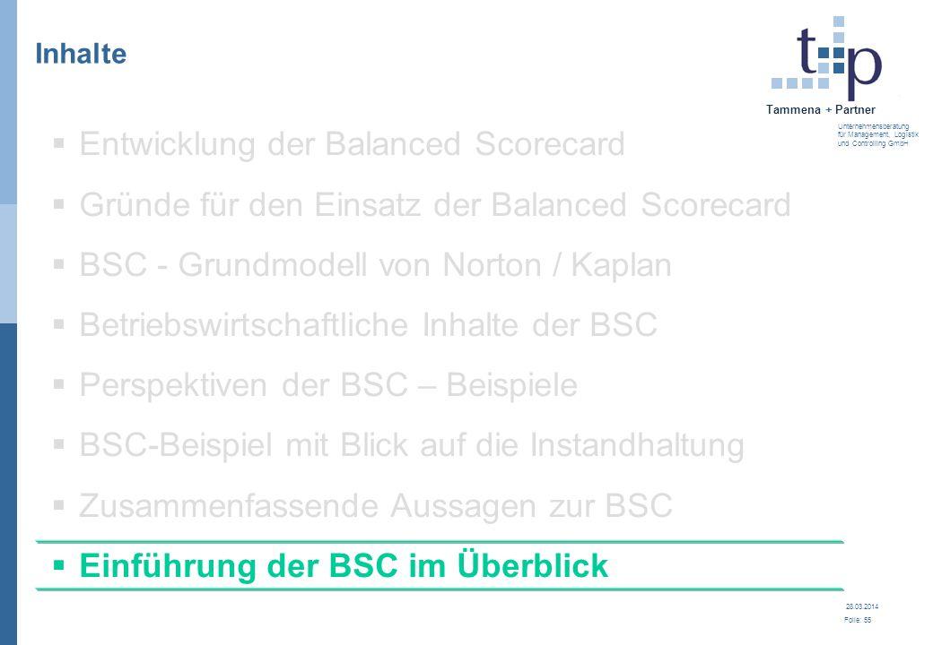28.03.2014 Folie: 56 Tammena + Partner Unternehmensberatung für Management, Logistik und Controlling GmbH Einführung der Balanced Scorecard Konzeption und Rahmen schaffen 1.