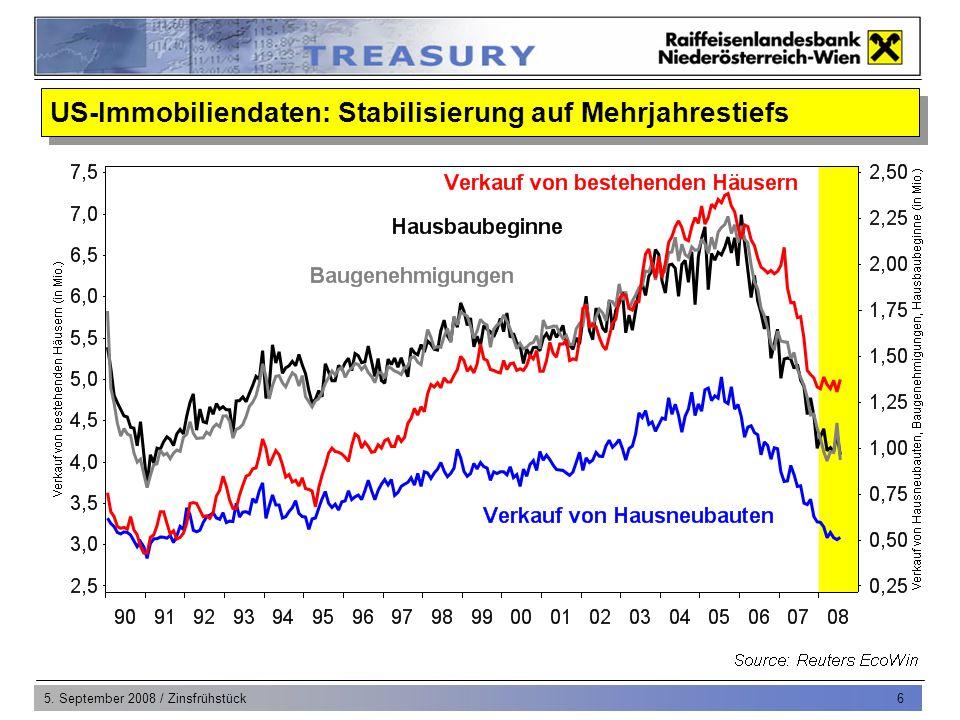 5.September 2008 / Zinsfrühstück 7 US-Konsumausgaben werden im 2.