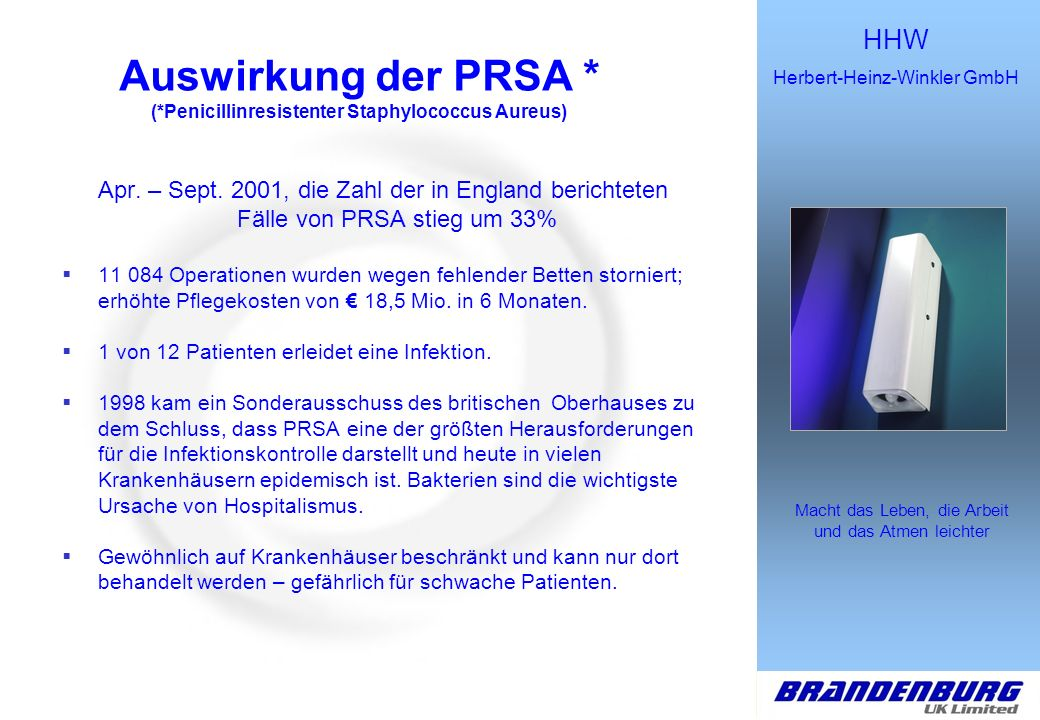 HHW Herbert-Heinz-Winkler GmbH Macht das Leben, die Arbeit und das Atmen leichter Fokus Tuberkulose/MMR Die WHO berichtete im März 2002, dass TB heute 2 Mio.