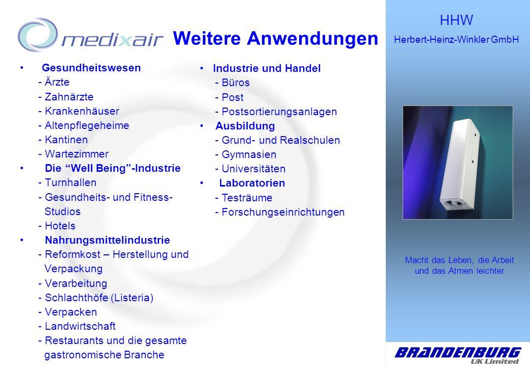 HHW Herbert-Heinz-Winkler GmbH Macht das Leben, die Arbeit und das Atmen leichter Die Lösung Keimtötendes Luftsterilisationsgerät