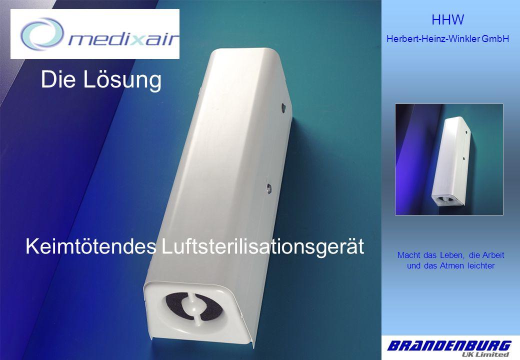 HHW Herbert-Heinz-Winkler GmbH Macht das Leben, die Arbeit und das Atmen leichter Entworfen unter Nutzung der UVC-Prinzipien.