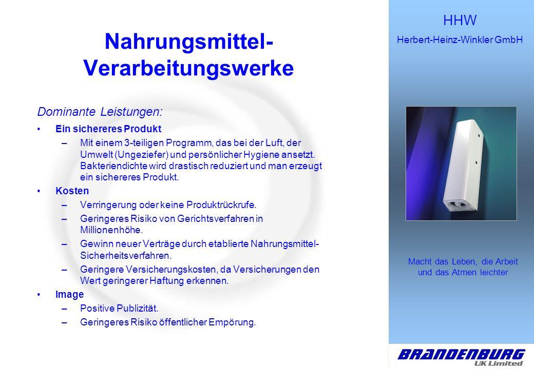 HHW Herbert-Heinz-Winkler GmbH Macht das Leben, die Arbeit und das Atmen leichter GESUNDHEITSWESEN Dominante Leistungen : –Nutzen für den Patienten Geringere Ansteckung durch Patienten.