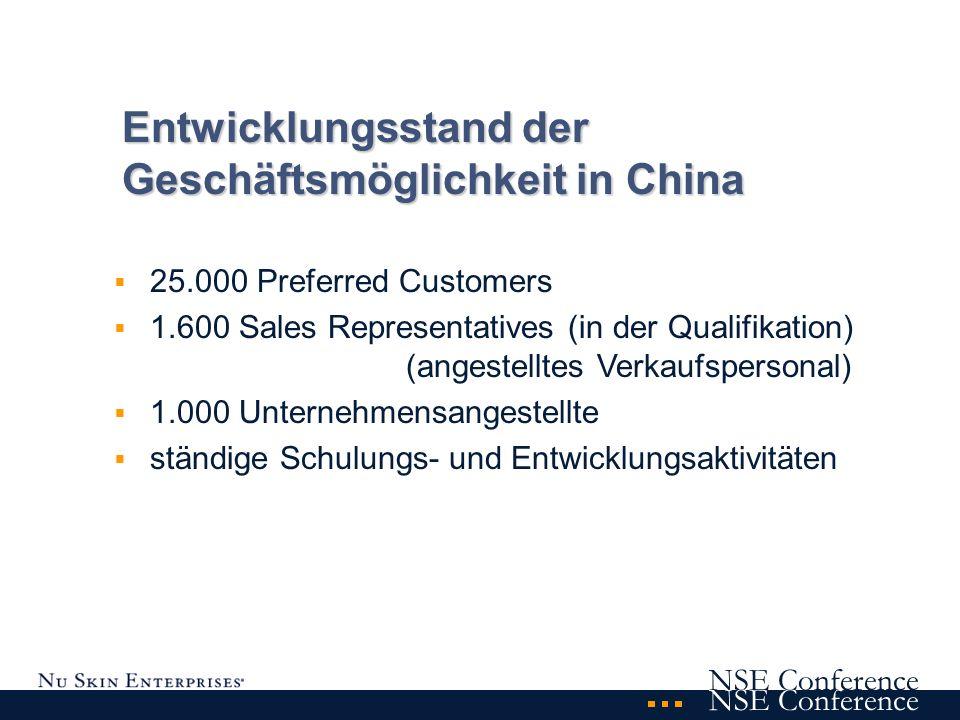 NSE Conference - weiterhin Preferred Customers empfehlen - in Ihren Schulungen besonders die Produkte herausstellen - Geduld und Flexibilität zeigen - den chinesischen Markt korrekt als einen für den Dirketvertrieb noch nicht eröffneten Markt betrachten - Betrachtung der Geschäftsmöglichkeit auf lange Sicht Was kann ich tun?