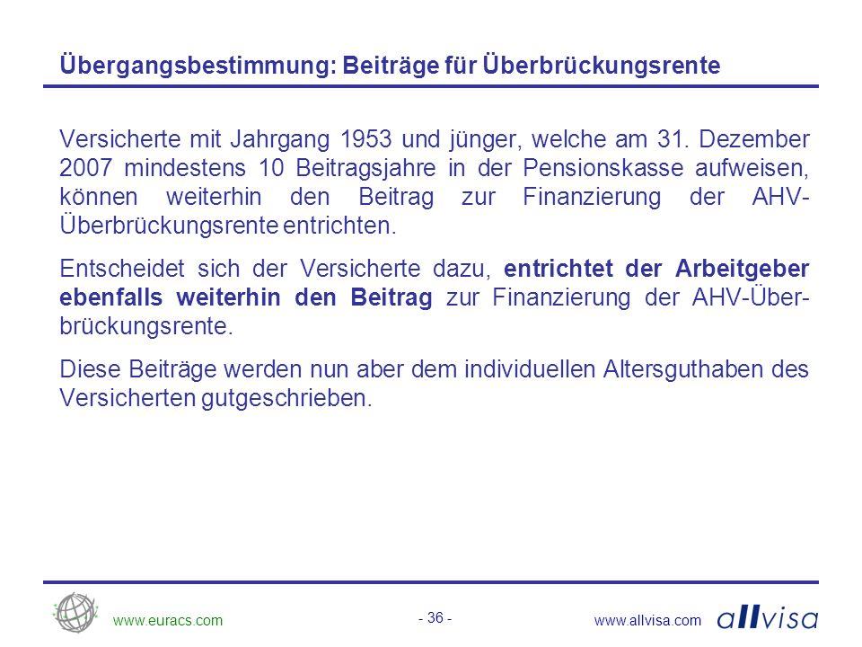 www.euracs.comwww.allvisa.com - 37 - Abgeltung für den Leistungserhalt Für den Übergang von einem kollektiv finanzierten Leistungsprimat auf ein individuell finanziertes Duoprimat erfolgt eine Abgeltung (Einmal- einlage) für den Leistungserhalt, so dass am Stichtag der Umstellung die Altersrente im Duoprimat frankenmässig mindestens gleich hoch wie im Leistungsprimat ausfällt.