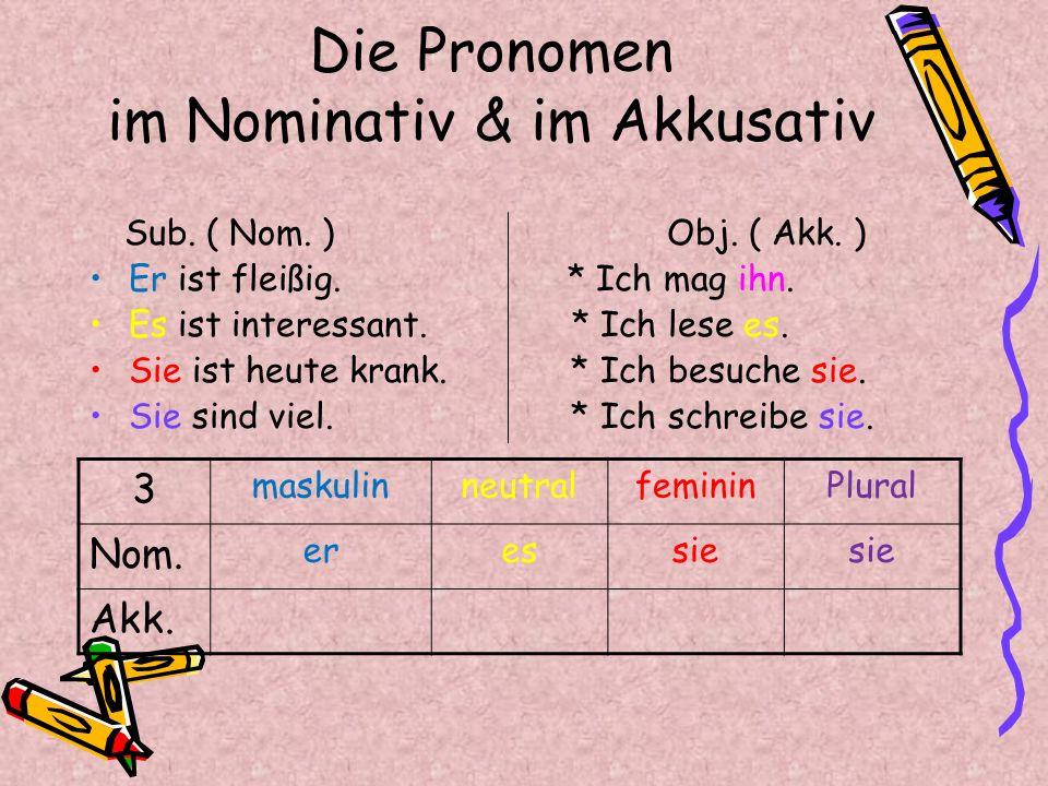 Die Pronomen im Nominativ & im Akkusativ Pluralfemininneutralmaskulin 3 sie eser Nom.