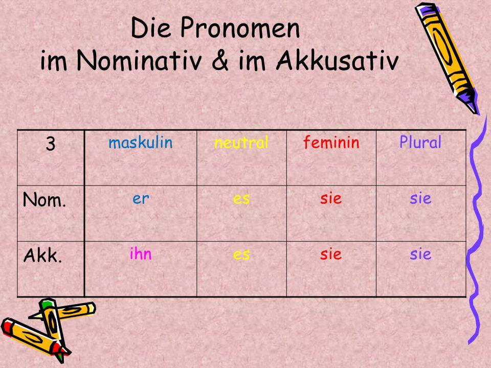 Der Akkusativ PluralSingular4 femininneutralmaskulinGenus Artikel Pronomen