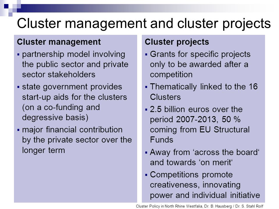 NRW Cluster Agency provides a platform for the inter-disciplinary exchange of information and experience promotes networking of the 16 state clusters realises additional potential for innovation among the 16 clusters (cross-innovation) offers advice and assistance to the clusters to help them raise funds is responsible for cross-cluster public relations work Cluster Policy in North Rhine Westfalia, Dr.