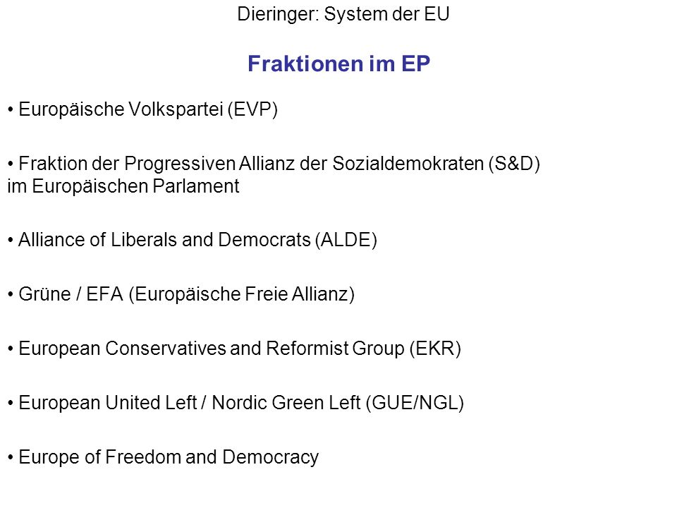 Dieringer: System der EU Bodies of the EP The Conference of Presidents is made up of the chairs of the political groups and the President of the European Parliament.