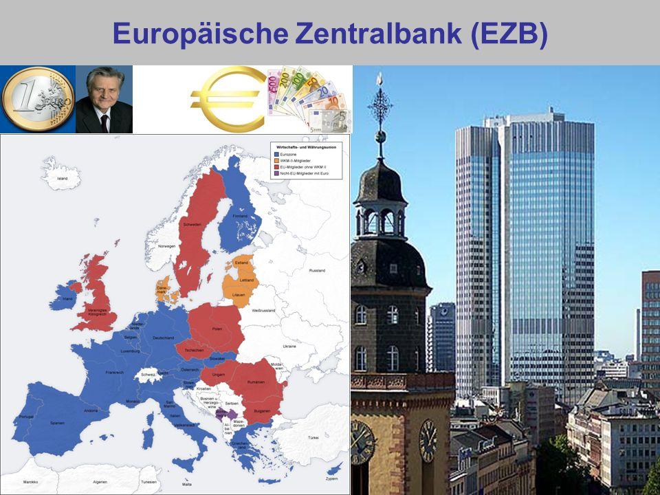 EZB: Institutionelle Struktur Direktorium (sechs Personen): Präsident, Vizepräsident, vier Mitglieder (vom Europäischen Rat – nur Euroländer – einstimmig ernannt) EZB-Rat (Direktorium + Direktoren der Zentralbanken der Eurozone).
