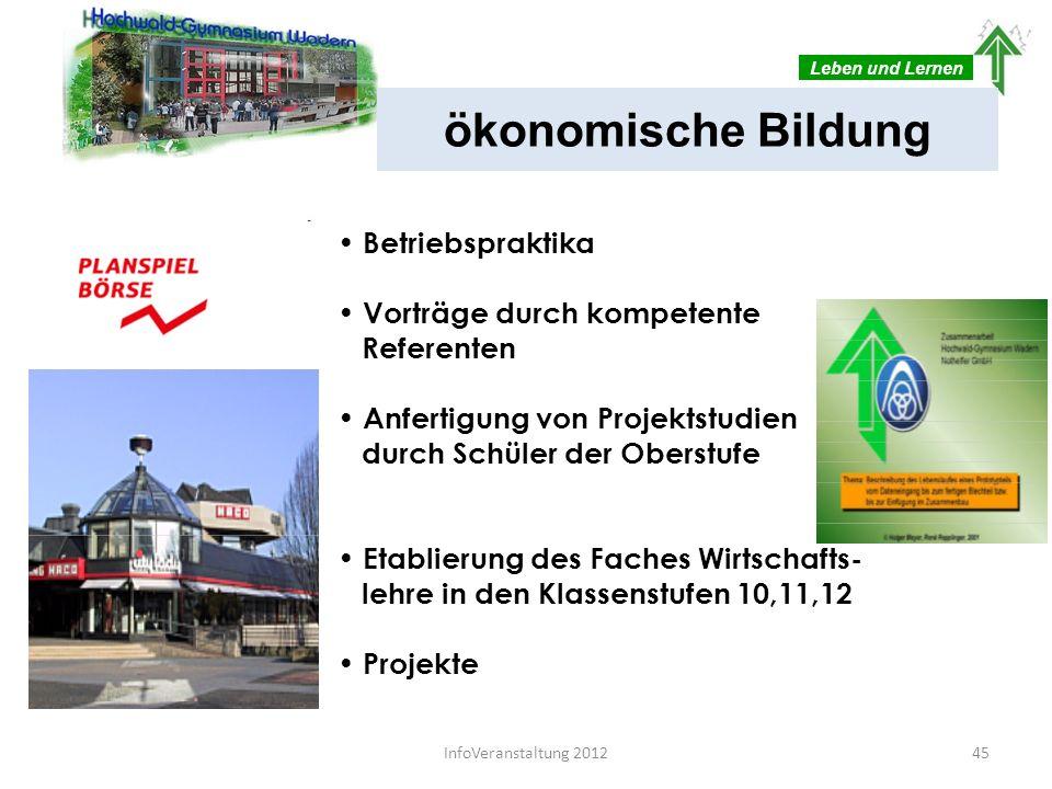 Leben und Lernen ab Klasse 10 als eigenes Fach wählbar Darstellendes Spiel 46InfoVeranstaltung 2012