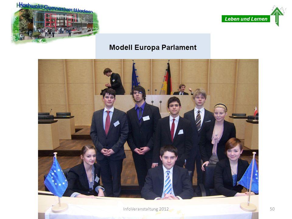 Leben und Lernen HWG als einzige saarländische Schule Mögliche Qualifizierung für internationale MEPs in englischer Sprache Gezielte Förderung begabter Schüler und Schülerinnen Modell Europa Parlament 51InfoVeranstaltung 2012