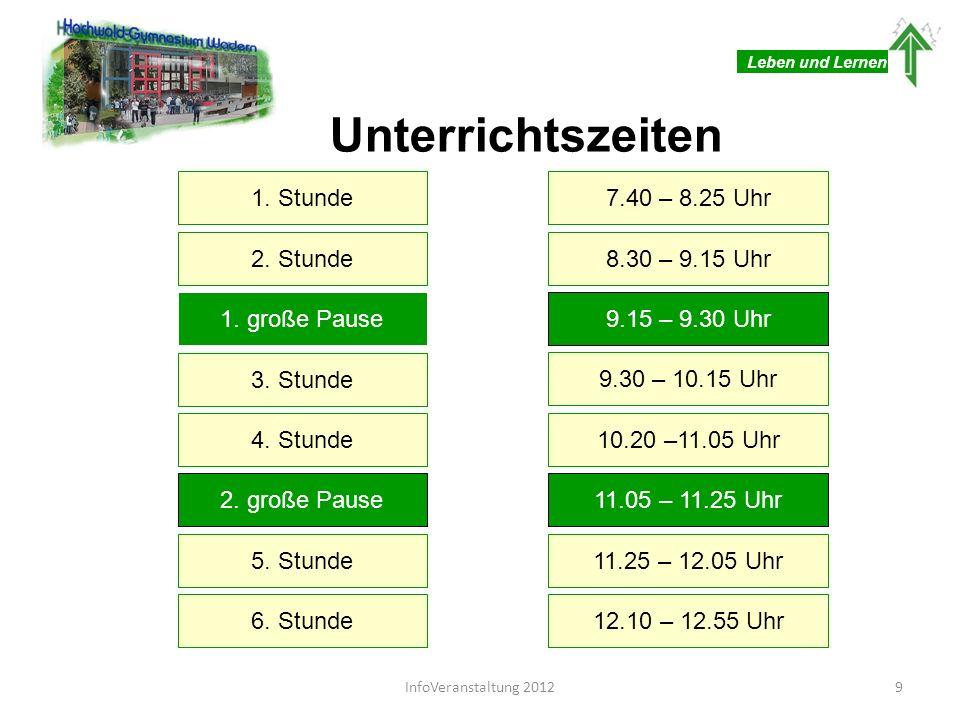 Leben und Lernen Unterrichtszeiten Mittagspause12.55 – 13.30 Uhr 7.