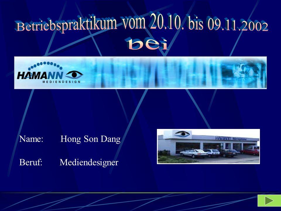 Name: Hong Son Dang Beruf: Mediendesigner